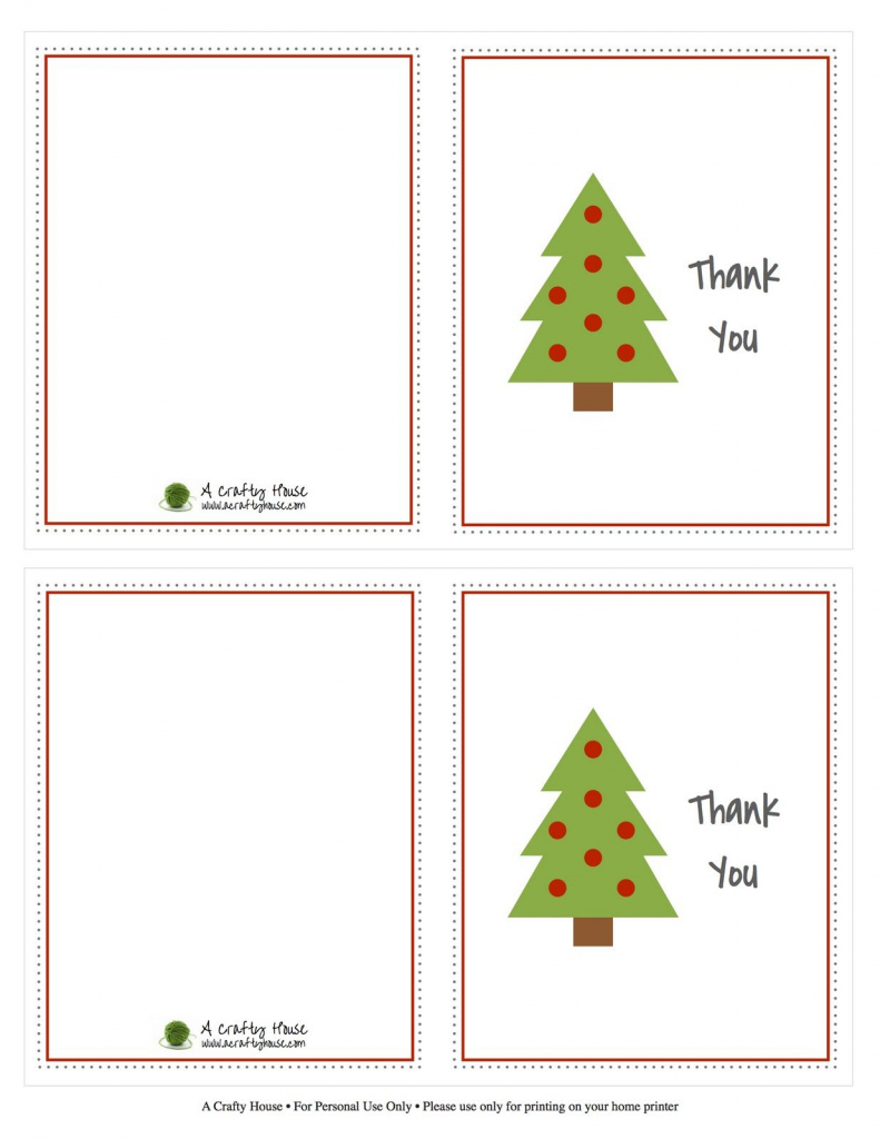 Free Printable Christmas Card Thank You Note | A Crafty House | Printable Christmas Thank You Cards