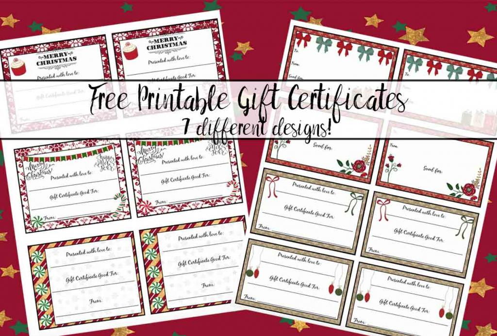 Free Printable Christmas Gift Certificates: 7 Designs, Pick Your | Free Printable Christmas Gift Cards
