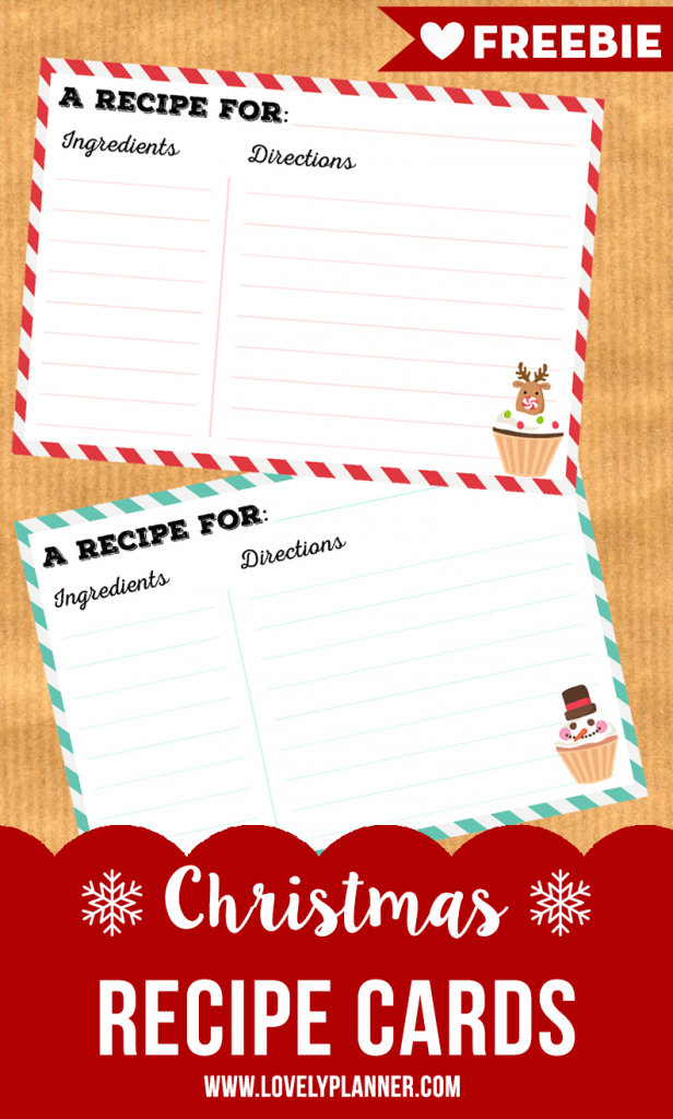 Free Printable Christmas Recipe Cards - Lovely Planner   Printable Recipe Cards For Christmas