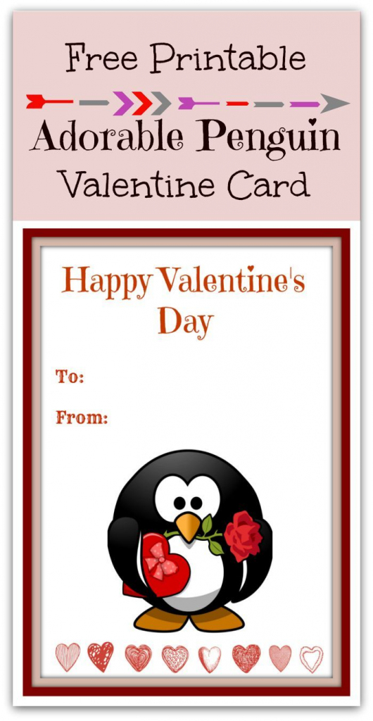 Free Printable Cute Penguin Valentine's Day Card | Free Printables | Printable Penguin Valentine Cards