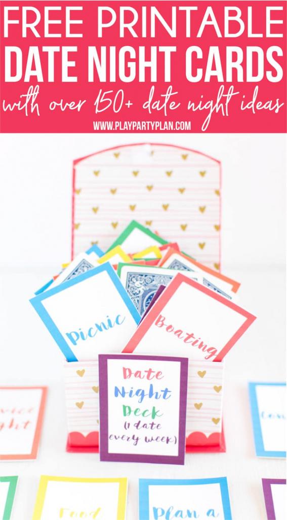 Free Printable Date Night Cards & 150+ Date Night Ideas - Play Party | Free Printable Play Date Cards