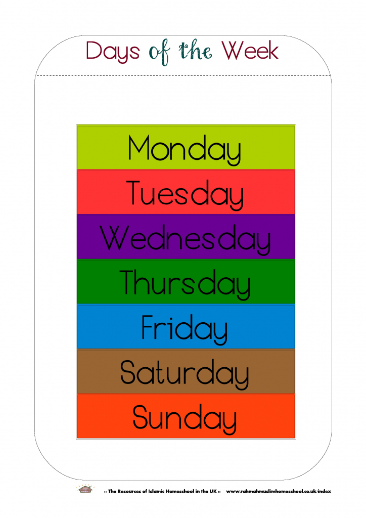 Free Printable Days Of The Week Workbook And Poster   The Resources   Free Printable Days Of The Week Cards