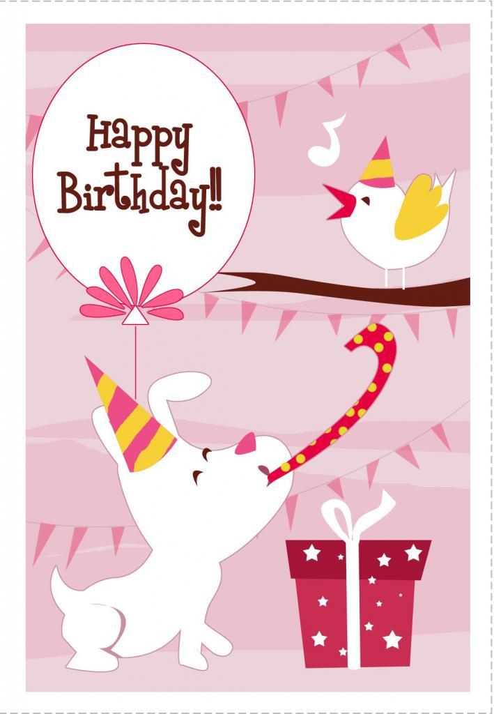 Free Printable Dog N Bird Greeting Card | Cards | Happy Birthday | Printable Dog Birthday Cards