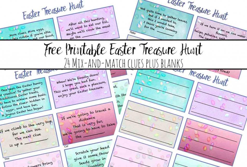 Free Printable Easter Treasure Hunt: 24 Mix & Match Clue Plus Blanks | Treasure Hunt Printable Clue Cards