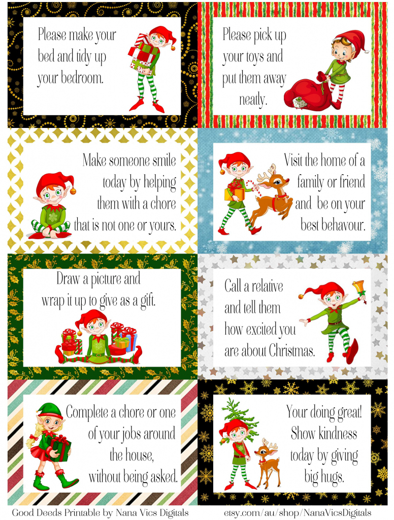 Free Printable Elf Good Deed Cards. A4. Enjoy! | Elf On A Shelf | Printable Elf On The Shelf Note Cards
