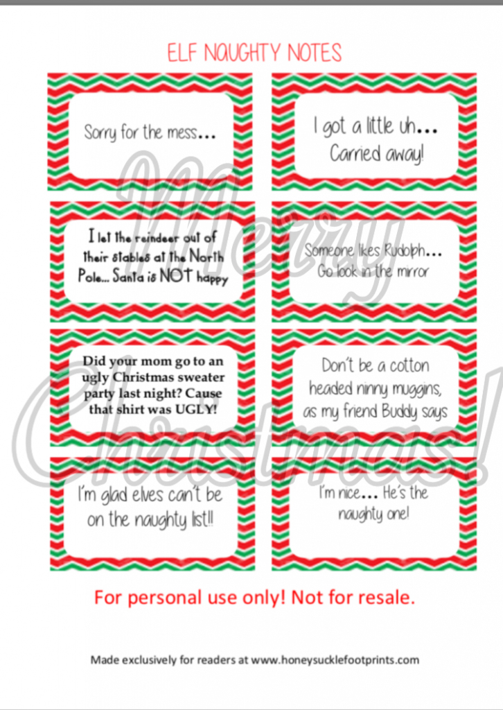 Free Printable - Elf On The Shelf Naughty Cards - Honeysuckle Footprints | Elf On The Shelf Printable Note Cards