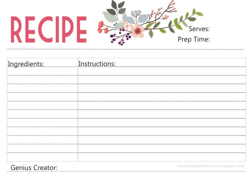 Free Printable : Floral Recipe Card   Free Printable Recipe Cards