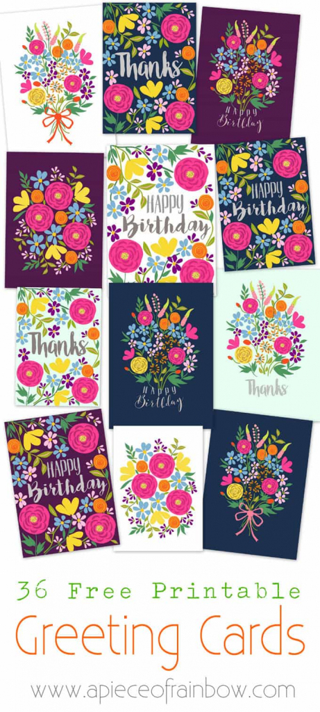 Free Printable Flower Greeting Cards - A Piece Of Rainbow | Free Printable Greeting Cards