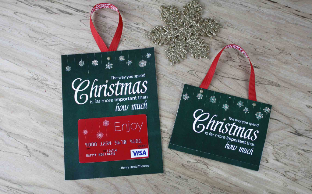 Free Printable| Gift Card Holder Spend Christmas | Free Printable Christmas Money Holder Cards