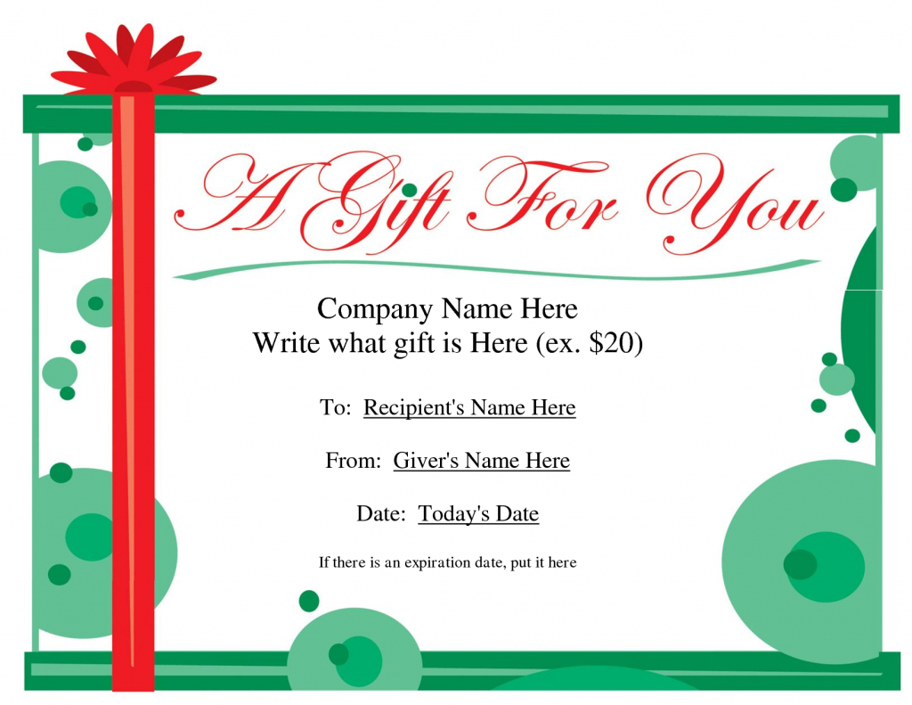 Free Printable Gift Certificate Template   Free Christmas Gift   Printable Gift Card Template