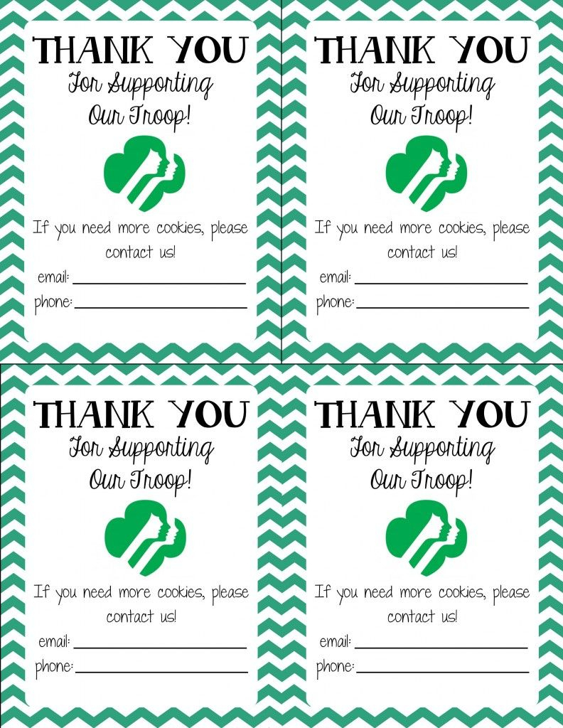 Free Printable! Girl Scout Cookie Thank You Cards | Girl Scouts | Military Thank You Cards Free Printable