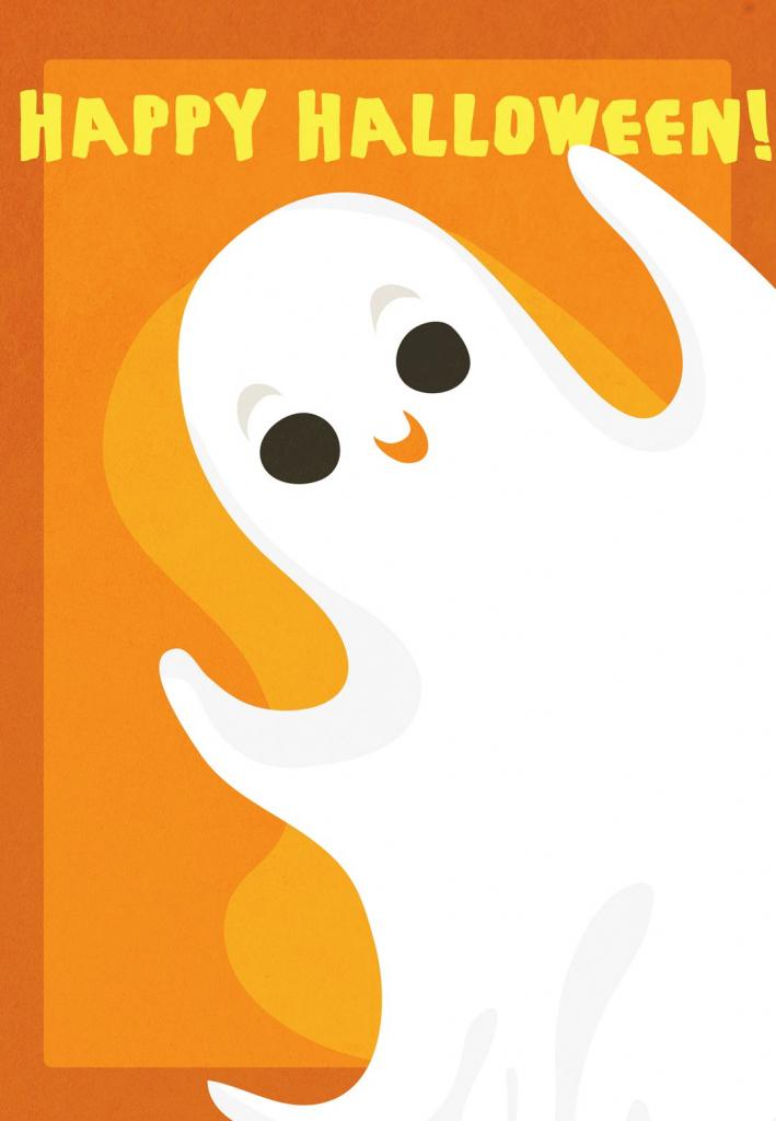 Free Printable Halloween Ghost Greeting Card   Halloweenie   Free Printable Halloween Cards