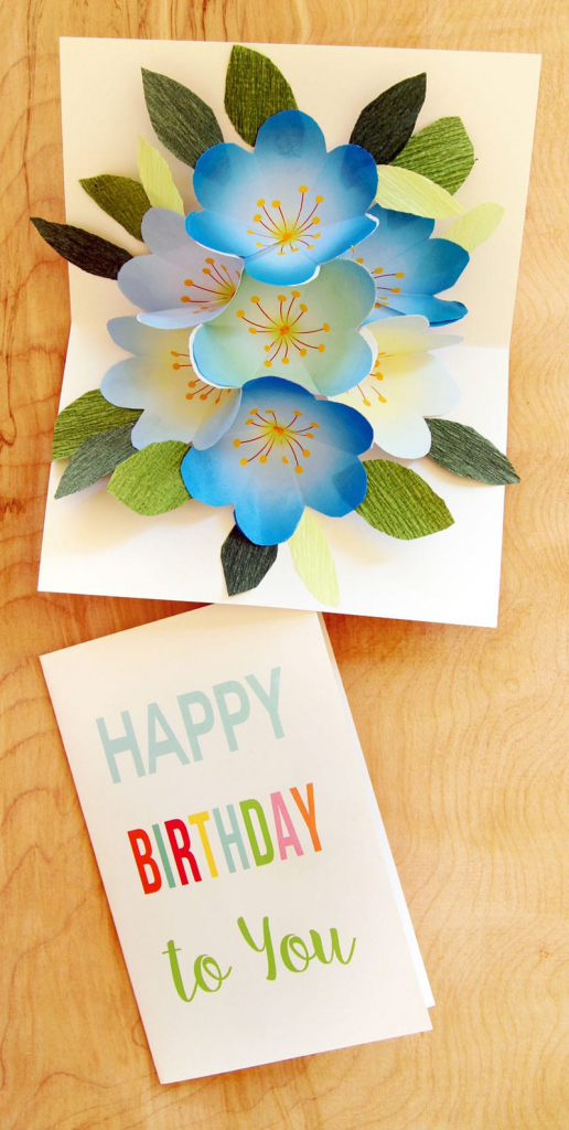 Free Printable Happy Birthday Card With Pop Up Bouquet - A Piece Of   Free Printable Pop Up Card Templates