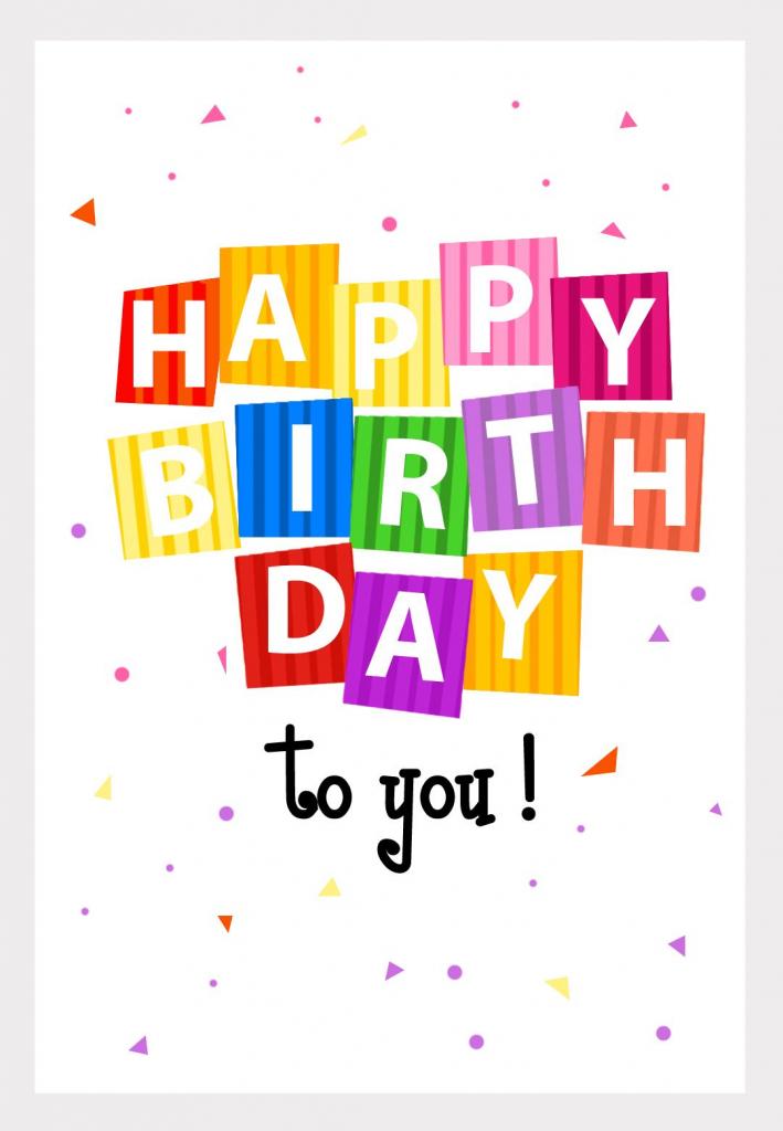 Free Printable Happy Birthday Confetti Greeting Card | Words | Free Printable Greeting Card Sentiments