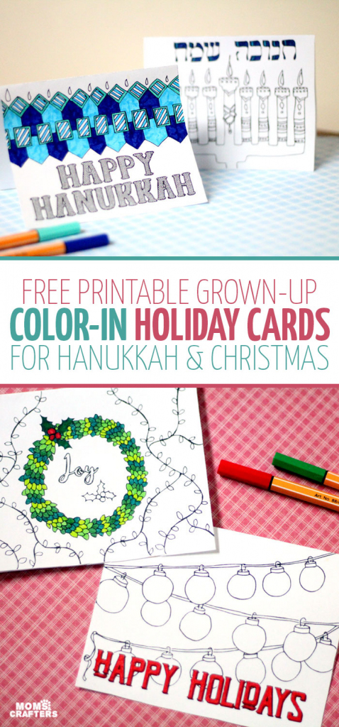 Free Printable Holiday Cards Adult Coloring Pages - Hanukkah + Christmas | Printable Hanukkah Cards To Color