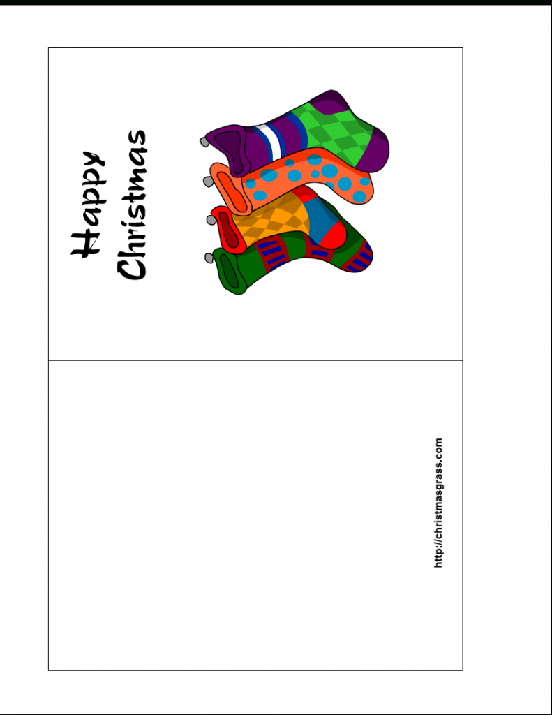 Free Printable Holiday Greeting Card With Stockings | Printable Christmas Greeting Cards