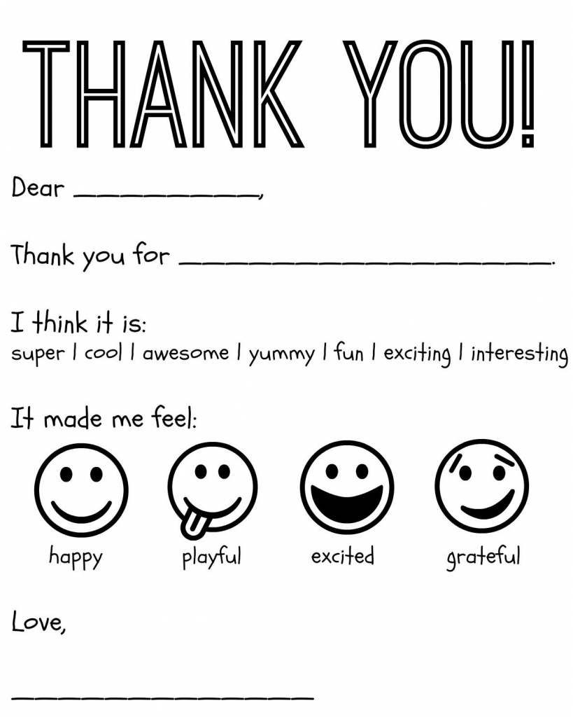 Free Printable Kids Thank You Cards To Color | Thank You Card | Printable Thank You Card Black And White