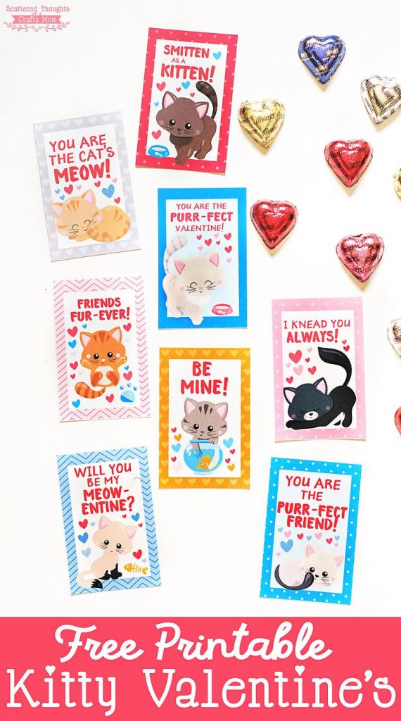Free Printable Kitten Valentines - Scattered Thoughts Of A Crafty | Free Printable Cat Valentine Cards