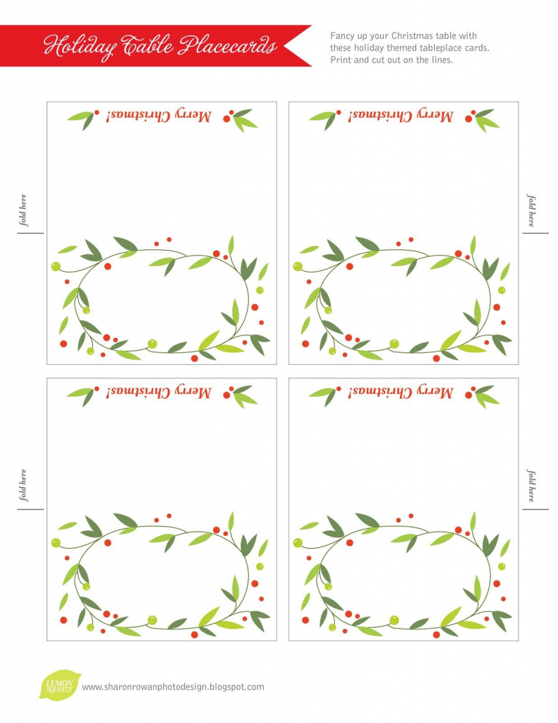 Free Printable Lemon Squeezy: Day 12: Place Cards | Work Stuff | Free Printable Christmas Table Place Cards Template