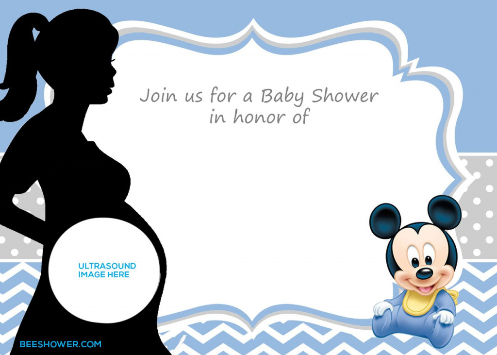 Free Printable Mickey Mouse Baby Shower Invitation Template   Baby   Baby Shower Cards Online Free Printable