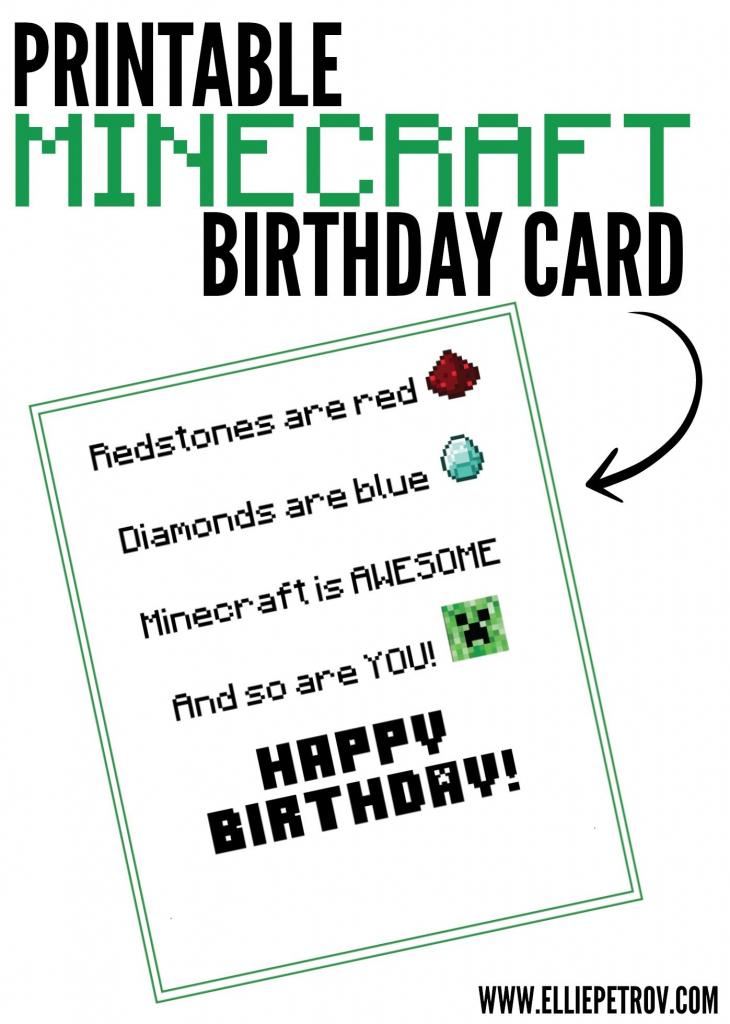 Free Printable Minecraft Birthday Card   Papercrafting   Minecraft   Minecraft Birthday Card Printable