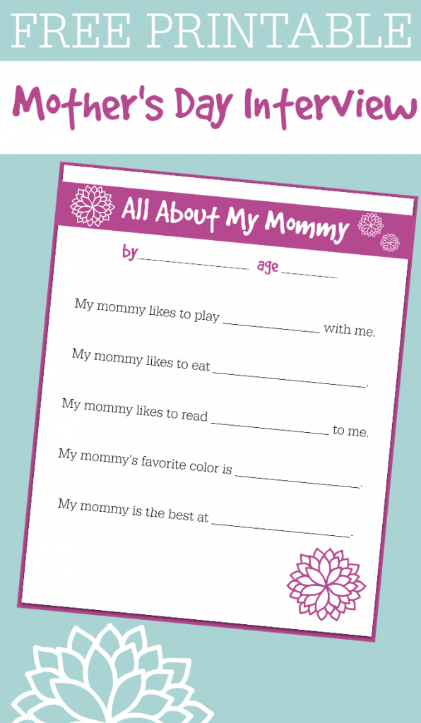 Free Printable Mother's Day Interview For Kids - No Time For Flash Cards   Printable Mothers Day Cards For Preschoolers