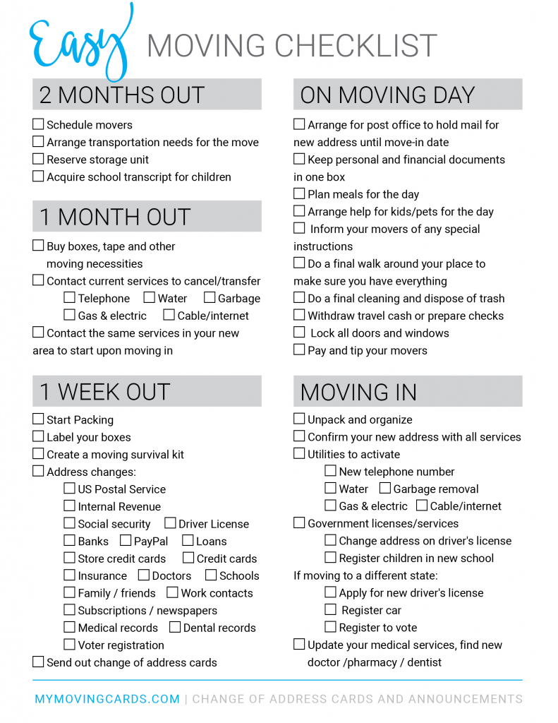 Free Printable Moving Checklist | Personalized Moving Cards | Free Printable Change Of Address Cards