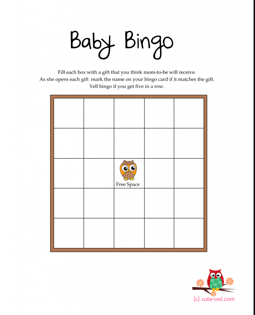 Free Printable Owl Themed Baby Shower Games   Woodland Animal Themed   Free Printable Baby Shower Bingo Cards