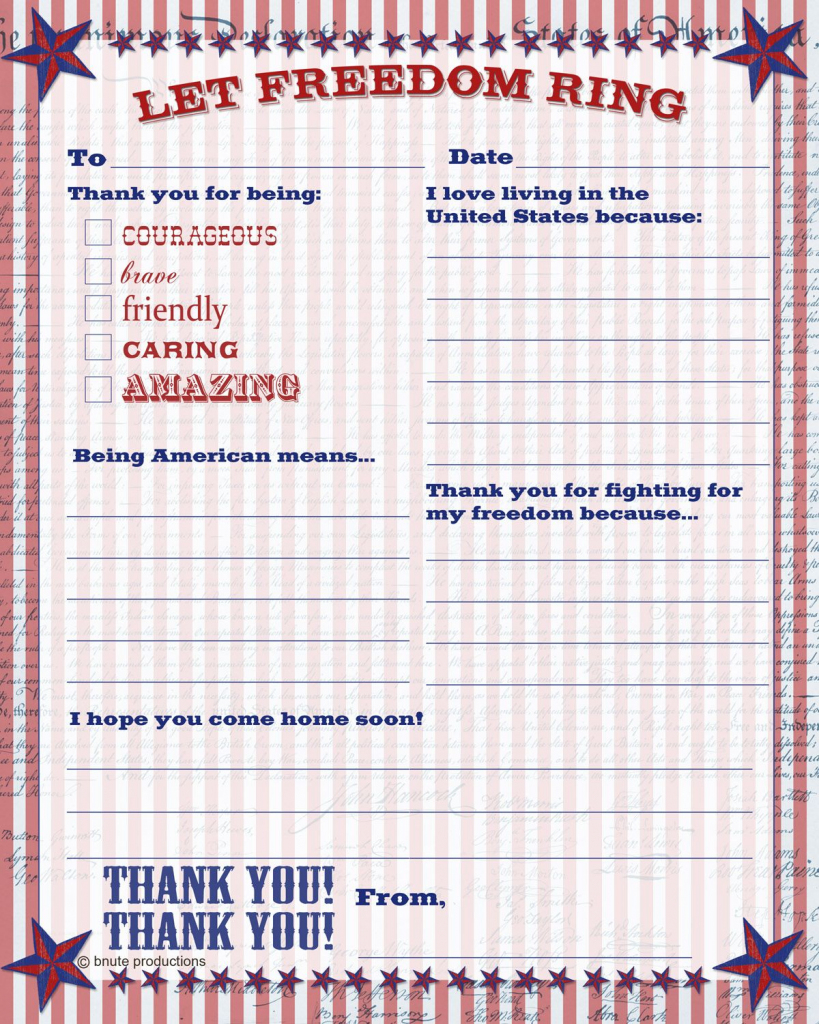 Free Printable Patriotic Thank You Letter - Letter To The Troops   Free Printable Thank You Cards For Soldiers