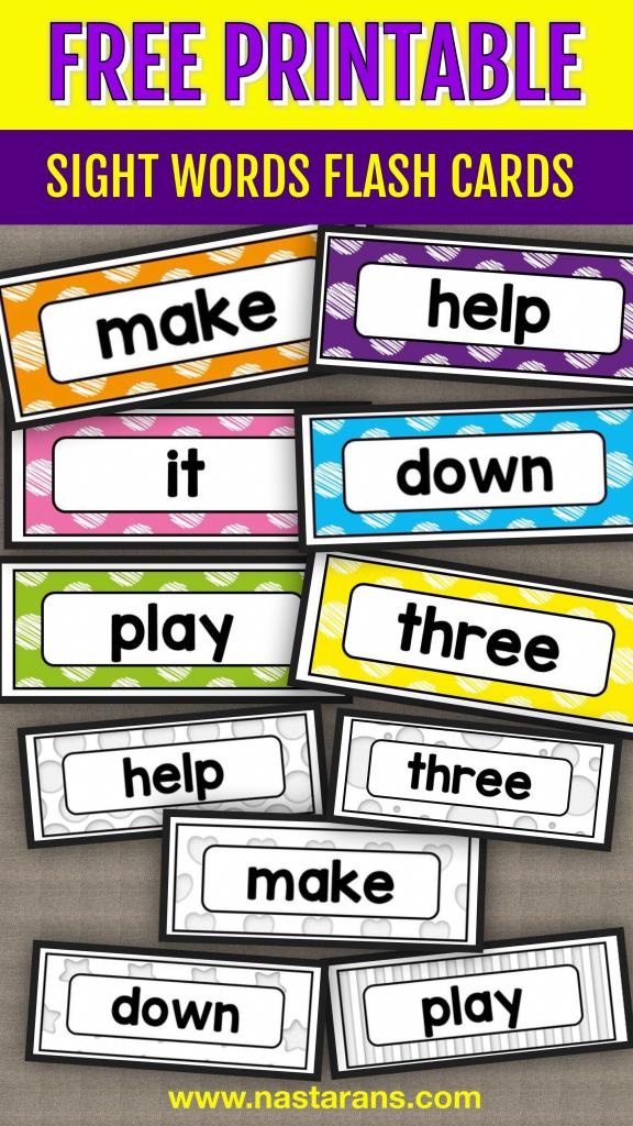 Free Printable Sight Words Flash Cards - Pre-Primer!#sightwords | Kindergarten Sight Words Flash Cards Printable