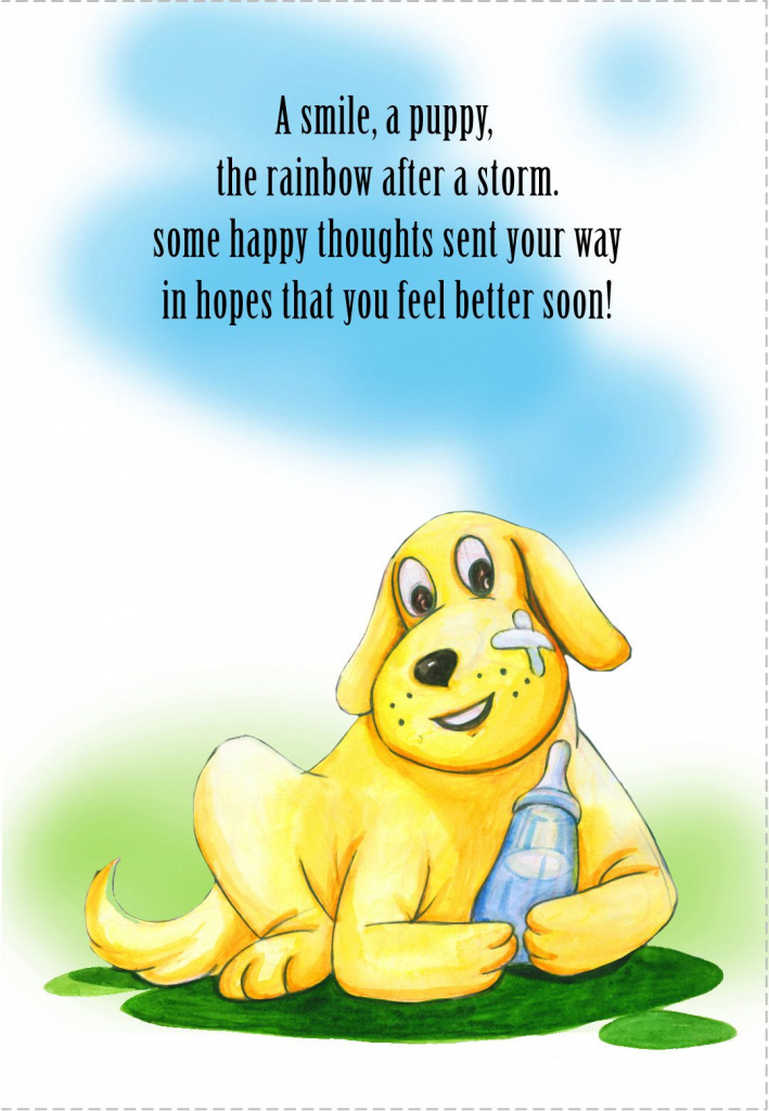 Free Printable - 'some Happy Thoughts' Get Well Card | Get Well | Feel Better Card Printable