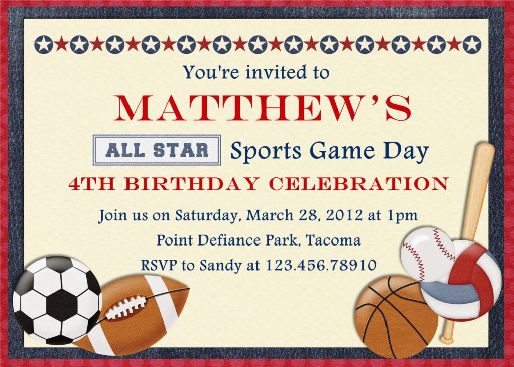 Free Printable Sports Birthday Invitations | Showers And Parties | Printable Sports Birthday Cards