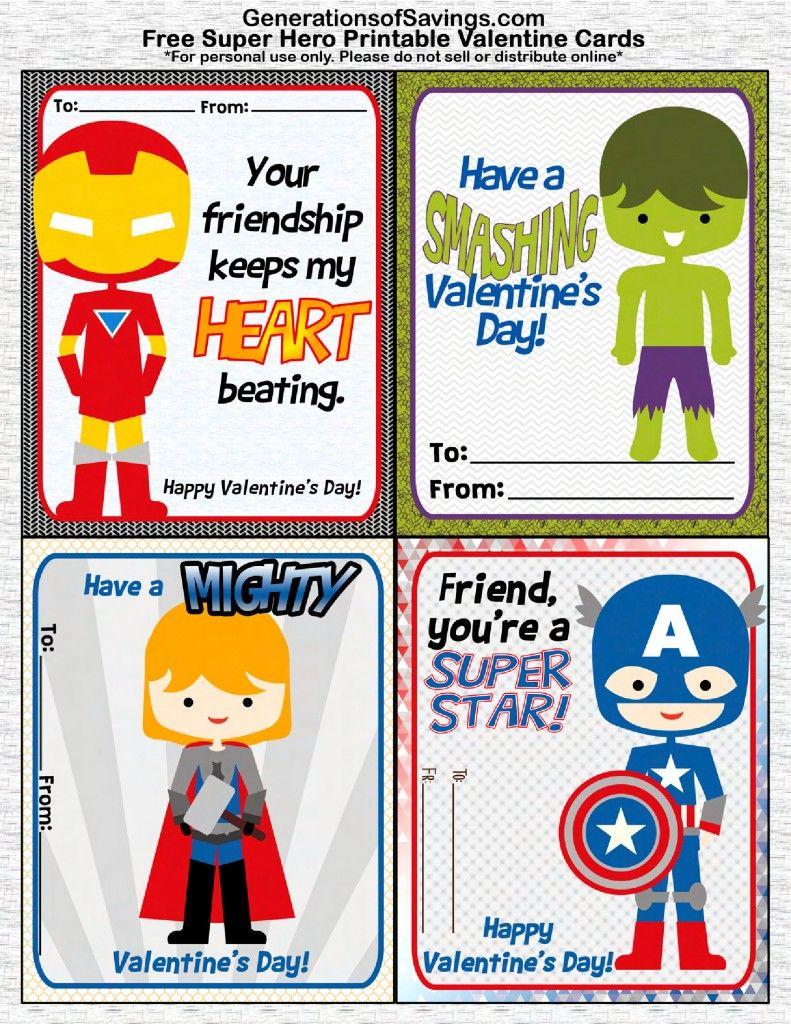Free Printable Superhero Valentine's Day Cards   Free Printable Superman Valentine Cards
