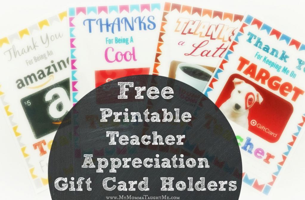 Free Printable Teacher Appreciation Gift Card Holders | Free Teacher Appreciation Week Printable Cards