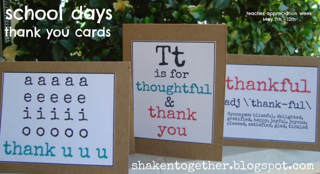 Free Printable Teacher Thank You Cards - Shaken Together | Free Printable Thank You Cards For Teachers