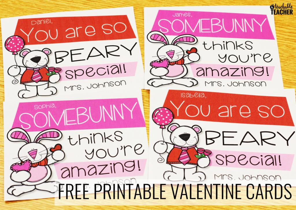 Free Printable Teacher Valentine Cards - A Teachable Teacher   Printable Valentine Cards For Teachers