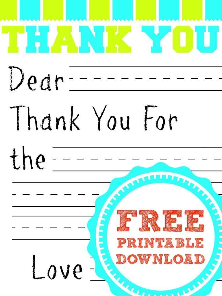 Free Printable Thank You Card | Kids Thank You Note Templates | Printable Thank You Cards For Kids