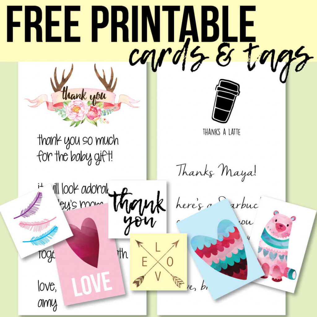 Free Printable Thank You Cards And Tags For Favors And Gifts!   Free Personalized Thank You Cards Printable