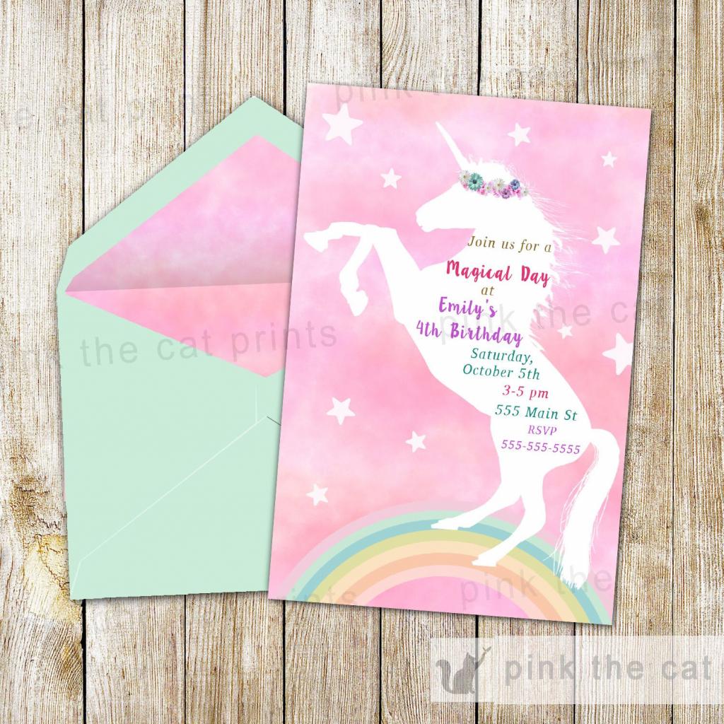 Free Printable Unicorn Invitations | Freebies | Unicorn Invitations | 7Th Birthday Card Printable