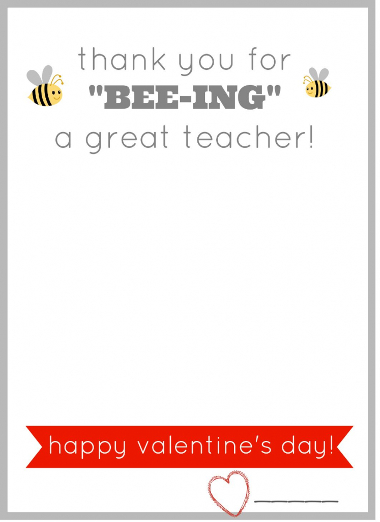 Free Printable Valentine Card For Teachers. Give Them A Burt's Bees   Printable Valentine Cards For Teachers