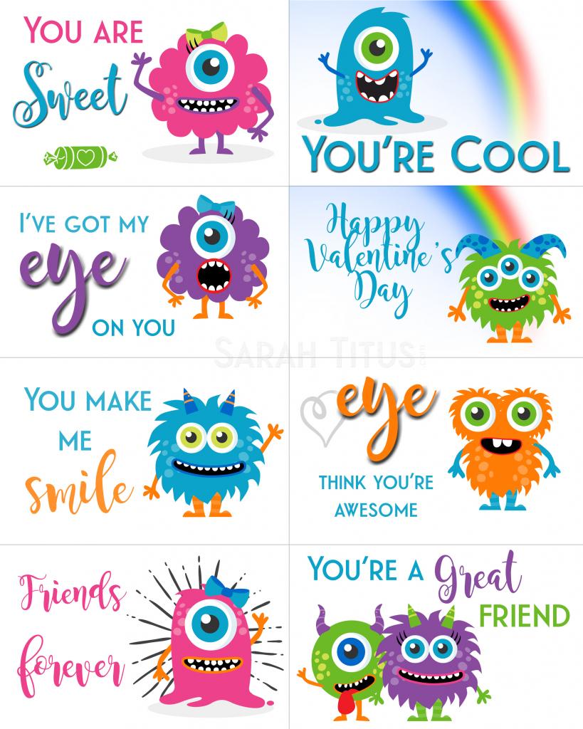 Free Printable Valentine Cards - Sarah Titus   Printable Valentine Cards For Kids