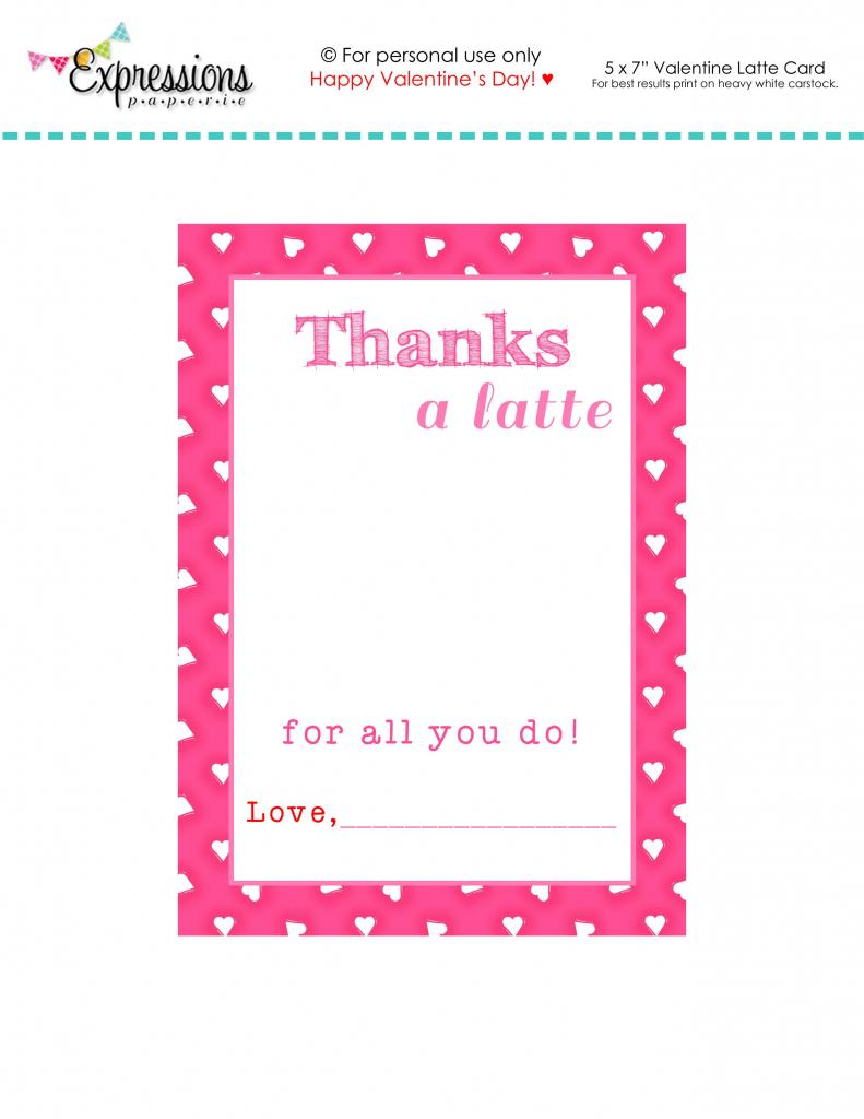 "Free Printable Valentine ""thanks A Latte"" Teacher Card | Expressions | Free Printable Teacher's Day Greeting Cards"