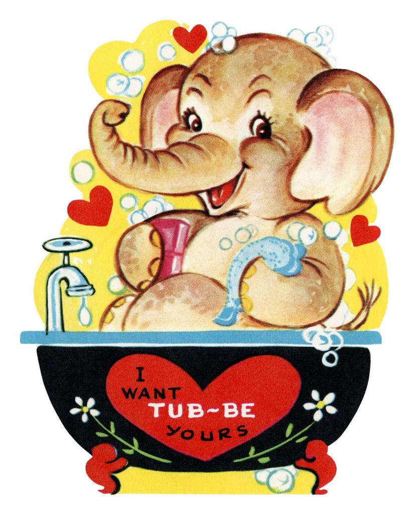 Free Printable Vintage Kids Valentine Elephant In Tub | Holidays | Printable Vintage Valentines Day Cards