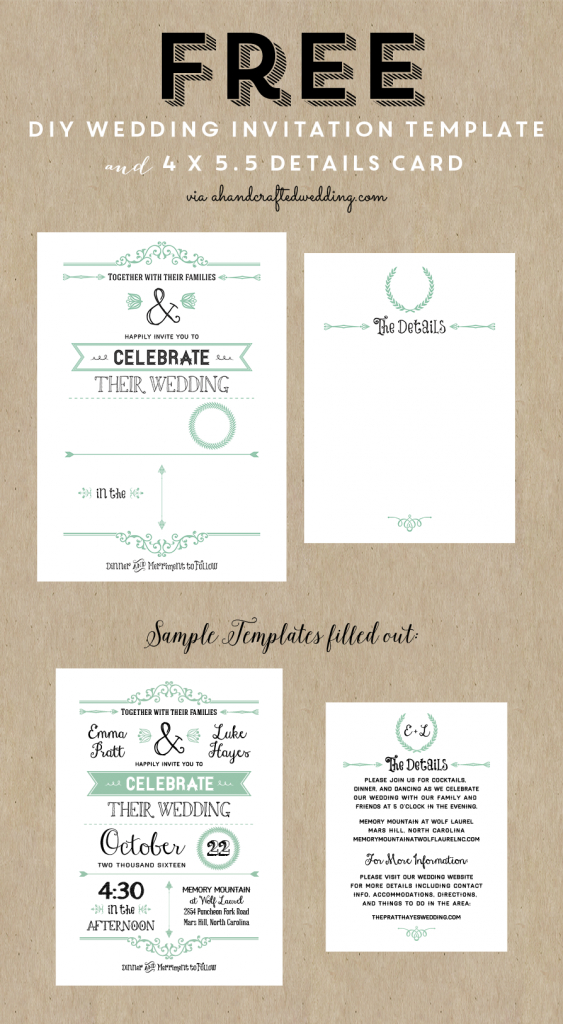 Free Printable Wedding Invitation Template | Wedding | Wedding | Wedding Invitation Cards Printable Free