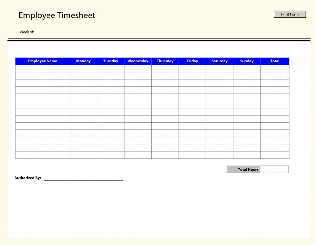 Free Printable Weekly Employee Time Sheets - Kleo.bergdorfbib.co | Employee Time Card Template Printable