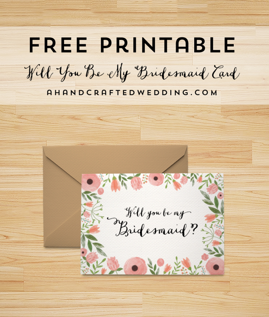 Free Printable Will You Be My Bridesmaid Card     Freebies   Free Printable Will You Be My Bridesmaid Cards