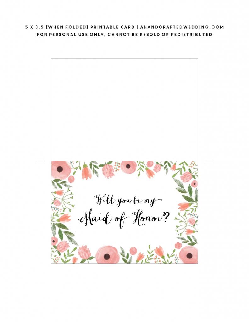 Free Printable Will You Be My Bridesmaid Card   Mountain Modern Life   Free Printable Will You Be My Bridesmaid Cards