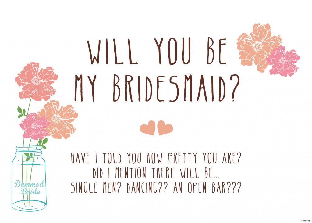 Free Printable Will You Be My Bridesmaid Cards | Free Printables | Free Printable Will You Be My Maid Of Honor Card