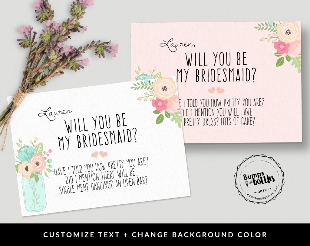Free Printable: Will You Be My Bridesmaid?   Free Printable Will You Be My Bridesmaid Cards