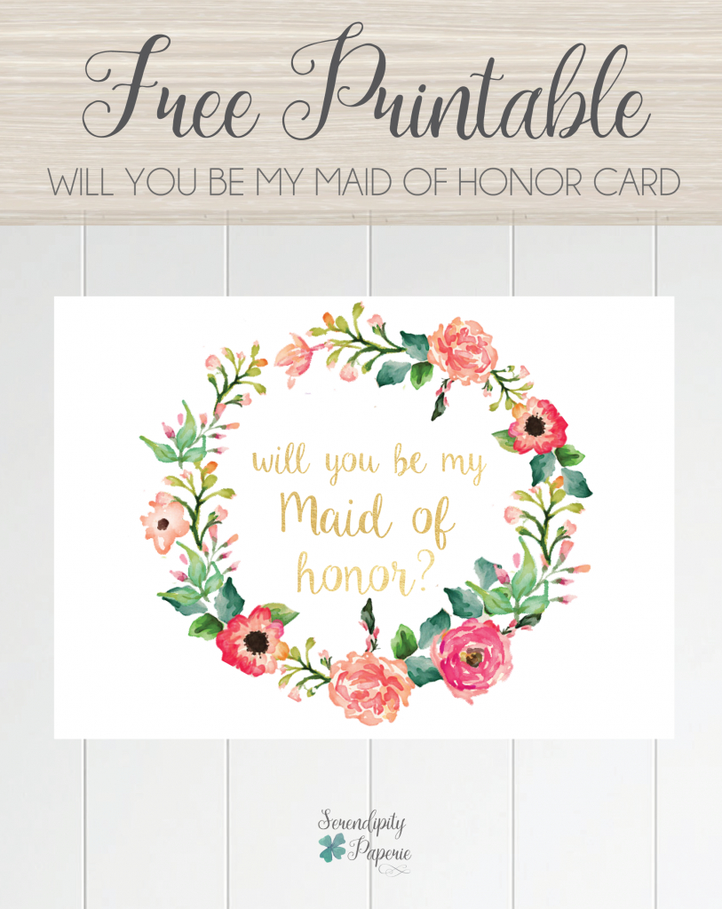 Free Printable Will You Be My Maid Of Honor Card, Floral Wreath   Free Printable Will You Be My Bridesmaid Cards
